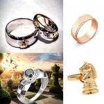 свадебные кольца в шахматном стиле